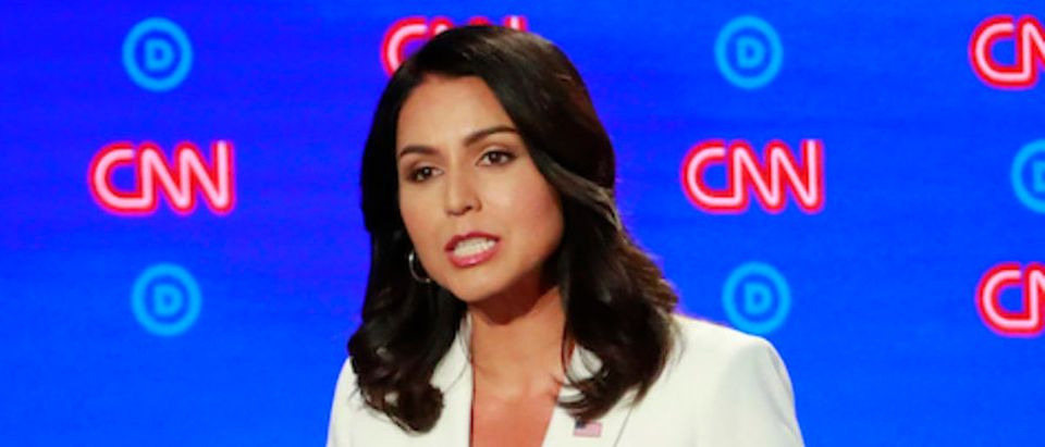 U.S. Rep. Tulsi Gabbard speaks on the second night of the second 2020 Democratic U.S. presidential debate in Detroit, Michigan, July 31, 2019. REUTERS/Lucas Jackson