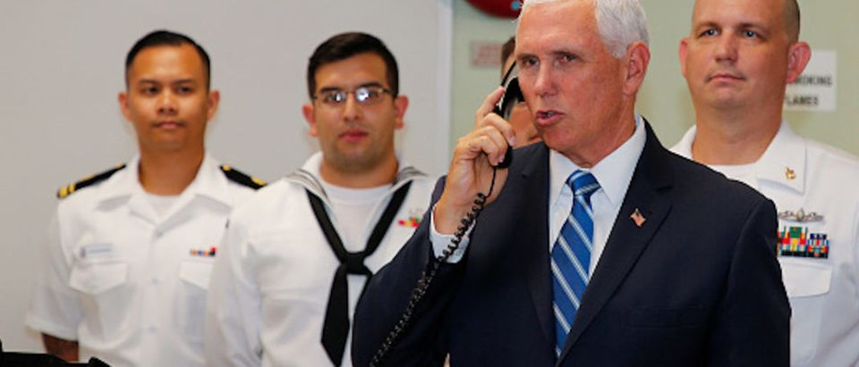 Vice President Mike Pence speaks to the crew of the U.S. Navy Hospital Ship USNS Comfort during a tour of the ship on June 18, 2019 in Miami, Florida