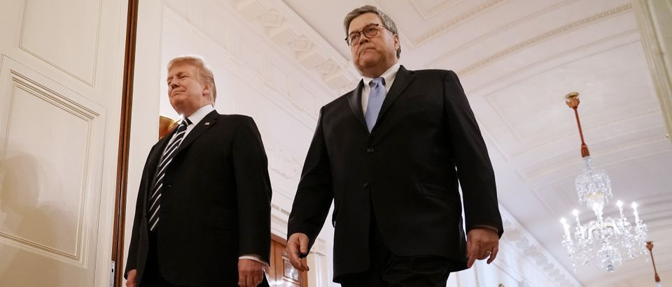 President Donald Trump and Attorney General William Barr arrive together at a ceremony in the East Room of the White House on May 22, 2019. (Chip Somodevilla/Getty Images)