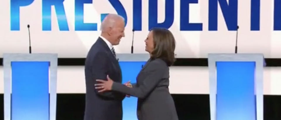 Joe Biden and Kamala Harris greet each other at Detroit debate. Screen Shot/CNN