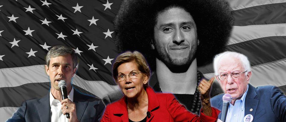 Beto O'Rourke, Elizabeth Warren, Bernie Sanders, Colin Kaepernick (Getty Images/Daily Caller)