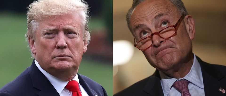 "President Donald Trump (L) said on July 21, 2019, that he would ""set up a meeting ASAP"" with Senate Minority Leader Chuck Schumer (R) after Schumer's visit to the southern U.S. border. Mark Wilson/Getty Images and Alex Wong/Getty Images"