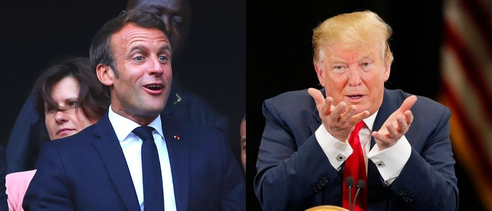 President Donald Trump said that the U.S. will hit back after French President Emanuel Macron imposed a 3 percent tax on digital companies like Facebook and Amazon on July 26, 2019. Richard Heathcote/Getty Images and Adam Bettcher/Getty Images