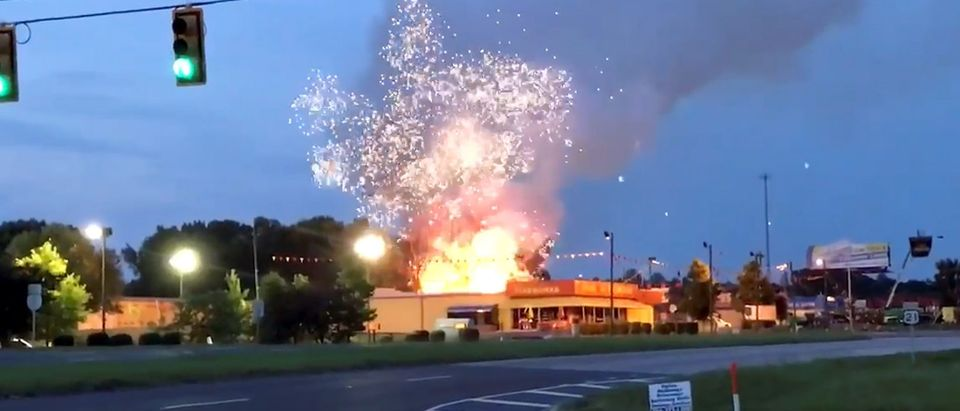 Firefighters at scene of fire at Davey Jones Fireworks store in Fort Mill, South Carolina, U.S., July 4, 2019, in this still image obtained from social media video by Reuters July 4, 2019. Courtesy of Michael Stechschulte/Social Media/via REUTERS