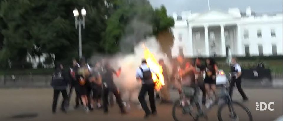 Secret Service rushes to extinguish flag ignited by Communists.