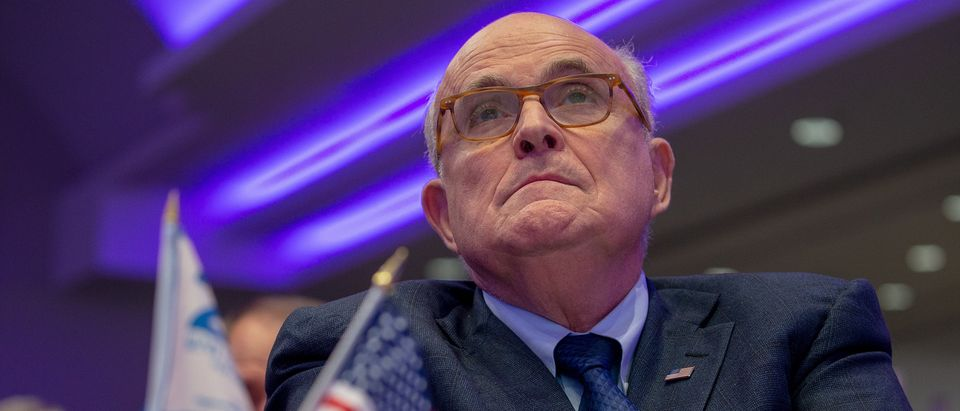 Latest appointee to President Donald Trump's legal team and former Mayor of New York City Rudy Giuliani attends the Conference on Iran on May 5, 2018 in Washington, D.C. (Photo by Tasos Katopodis/Getty Images)