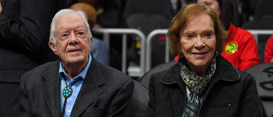 Former USA president Jimmy Carter and his wife Rosalynn Carter in attendance at the game between the Atlanta Hawks and the New York Knicks at State Farm Arena. Mandatory Credit: Dale Zanine-USA TODAY Sports