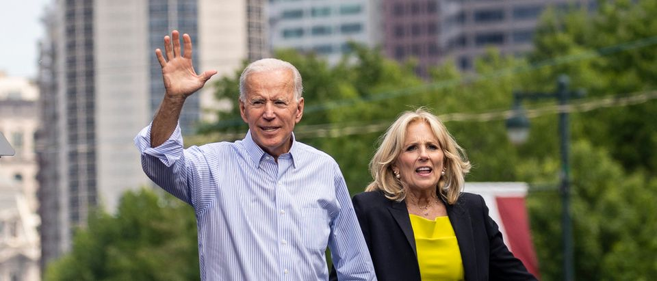 Democratic presidential candidate former U.S. Vice President Joe Biden and wife Dr. Jill Biden wave to the crowd at the end of a campaign kickoff rally May 18, 2019 in Philadelphia, Pennsylvania. (Photo by Drew Angerer/Getty Images)
