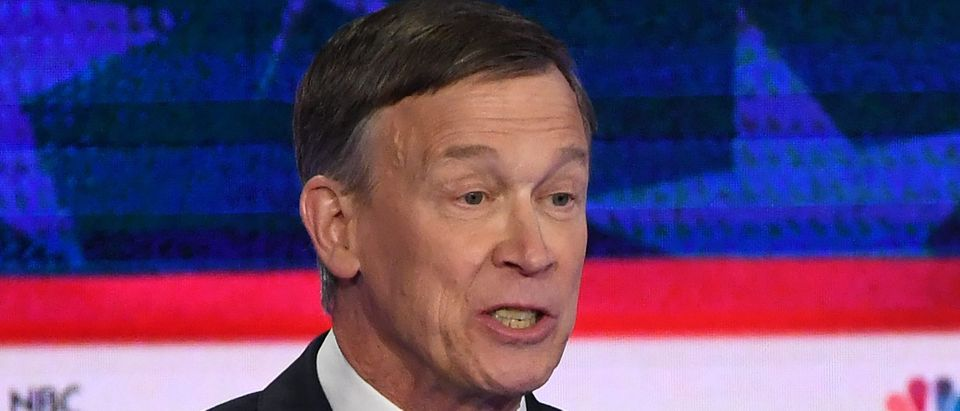 Democratic presidential hopeful former Governor of Colorado John Hickenlooper speaks during the second Democratic primary debate of the 2020 presidential campaign season hosted by NBC News at the Adrienne Arsht Center for the Performing Arts in Miami, Florida, June 27, 2019. (SAUL LOEB/AFP/Getty Images)