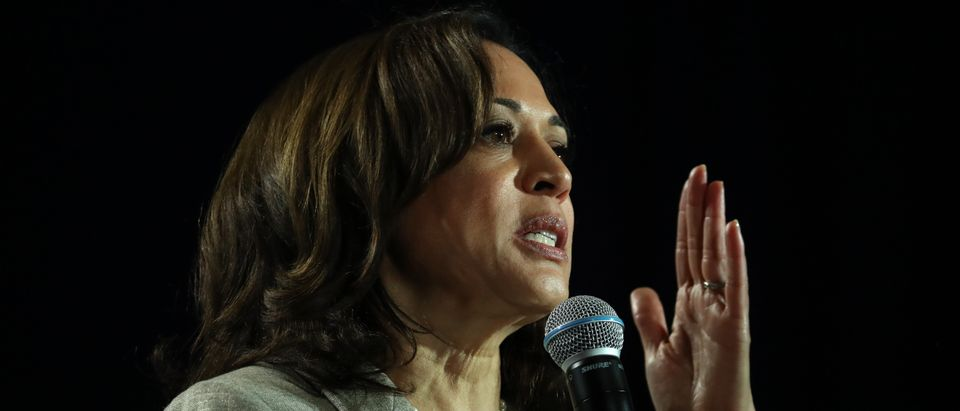 Democratic presidential candidate Kamala Harris speaks during the AARP and The Des Moines Register Iowa Presidential Candidate Forum on July 16, 2019 in Bettendorf, Iowa. (Photo by Justin Sullivan/Getty Images)