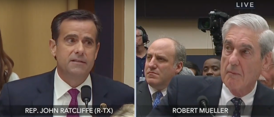 Former special counsel Robert Mueller takes questions from Rep. John Ratcliffe (R-TX). Screen Shot/Fox News