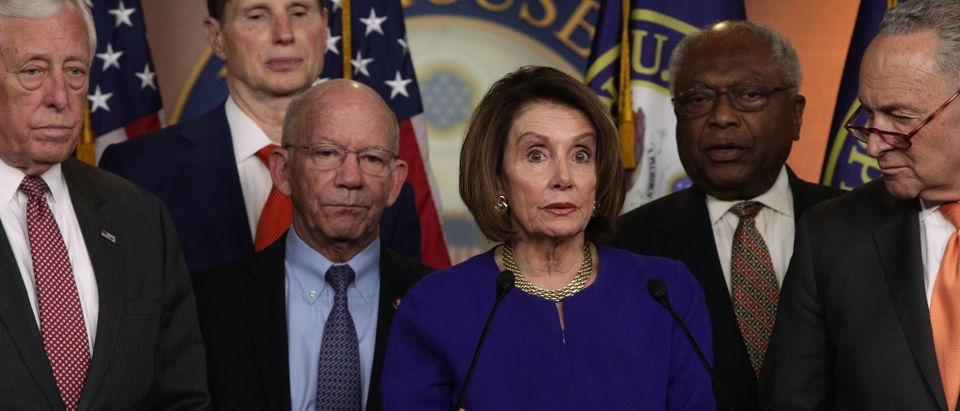 U.S. Speaker of the House Rep. Nancy Pelosi speaks to members of the media as Senate Minority Leader Sen. Chuck Schumer and other Congressional leaders listen after she returned to the Capitol from a White House meeting with President Donald Trump May 22, 2019 in Washington, DC. (Photo by Alex Wong/Getty Images)