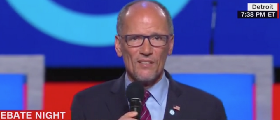 NC chairman Tom Perez opens night two of Detroit Democratic primary debates. Screen Shot/CNN
