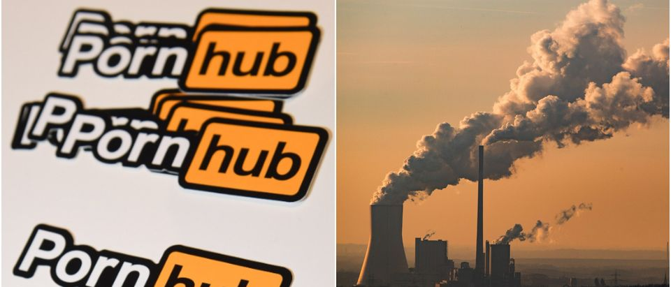 Pornhub logo stickers (Ethan Miller/Getty Images) and steam and exhaust rising from a power plant in Germany (Lukas Schulze/Getty Images)