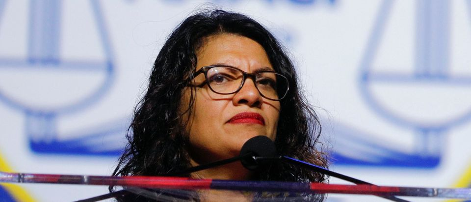 U.S. Rep. Rashida Tlaib speaks at the opening plenary session of the NAACP 110th National Convention at the COBO Center on July 22, 2019 in Detroit, Michigan. (Photo by Bill Pugliano/Getty Images)