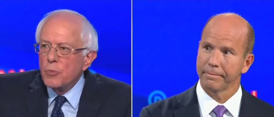 Low-polling Democratic presidential candidate John Delaney challenged Independent Vermont Sen. Bernie Sanders' Medicare for all plan during the second round of Democratic debates in Detroit on July 30, 2019. YouTube screenshot