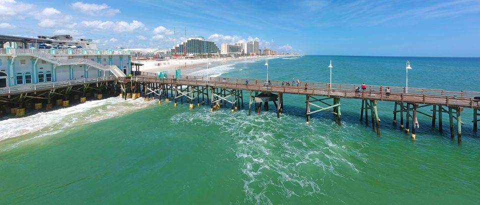 Panoramic aerial view of the historic Daytona Beach Main Street Pier, at Daytona Beach (Droneandy/Shutterstock)