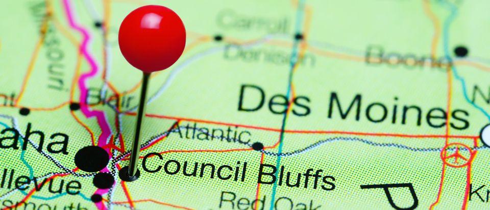 Council Bluffs pinned on a map of Iowa (Dmitrijs Kaminskis/Shutterstock).