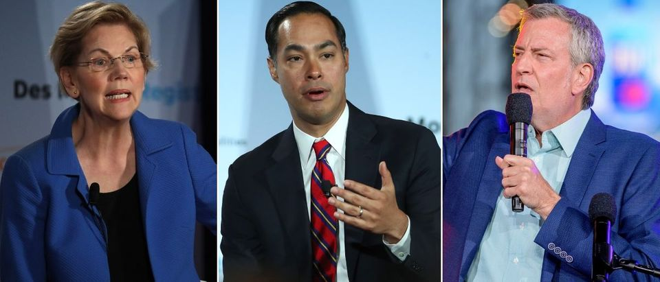 Democratic presidential candidates Elizabeth Warren, Julian Castro and Bill de Blasio (L to R) have their preferred gender pronouns in their Twitter bios as of July 22, 2019. Justin Sullivan/Getty Images, Justin Sullivan/Getty Images and Roy Rochlin/Getty Images