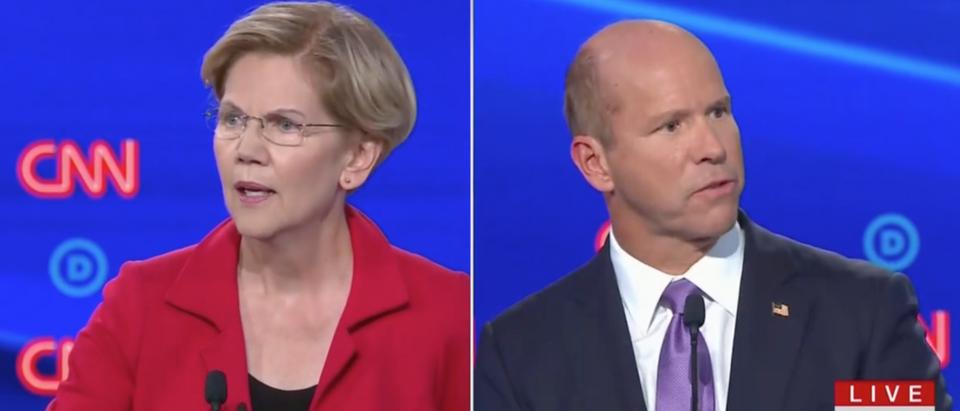 Warren and Delaney square off during Democratic primary debate. Screen Shot/CNN