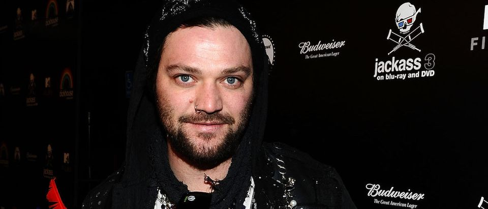 "Bam Margera attends the Blu-ray and DVD release of Paramount Home Entertainment's ""Jackass 3"" at the Paramount Studios on March 7, 2011 in Los Angeles, California. (Photo by Michael Buckner/Getty Images)"