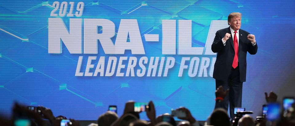 President Donald Trump at the NRA-ILA Leadership Forum in Indianapolis, Indiana on April 26, 2019. (Scott Olson/Getty Images)