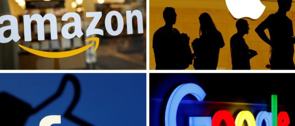 The logos of Amazon, Apple, Facebook and Google are seen in a combination photo from Reuters files. REUTERS/File Photo