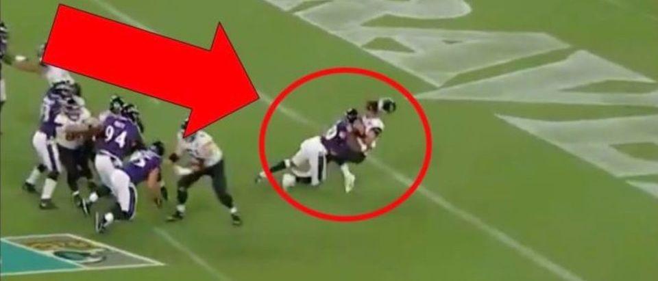 Gardner Minshew hit (Credit: Screenshot/Twitter Video https://twitter.com/Ravens/status/1159625158451068928)