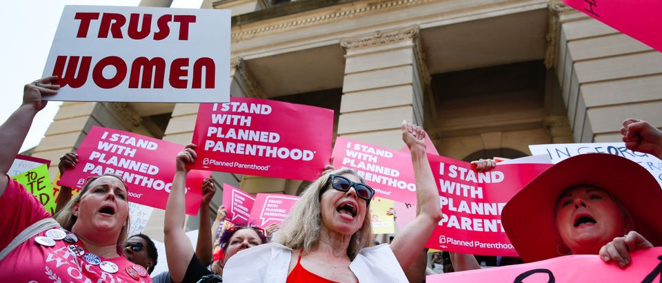 People protest against Georgia's recently passed heartbeat bill at the Georgia State Capitol on May 21, 2019. (Elijah Nouvelage/Getty Images)