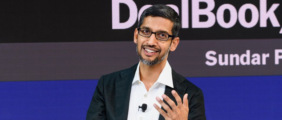 Sundar Pichai, speaks onstage during the 2018 New York Times Dealbook on Nov. 1, 2018 in New York City. (Photo by Michael Cohen/Getty Images for The New York Times)