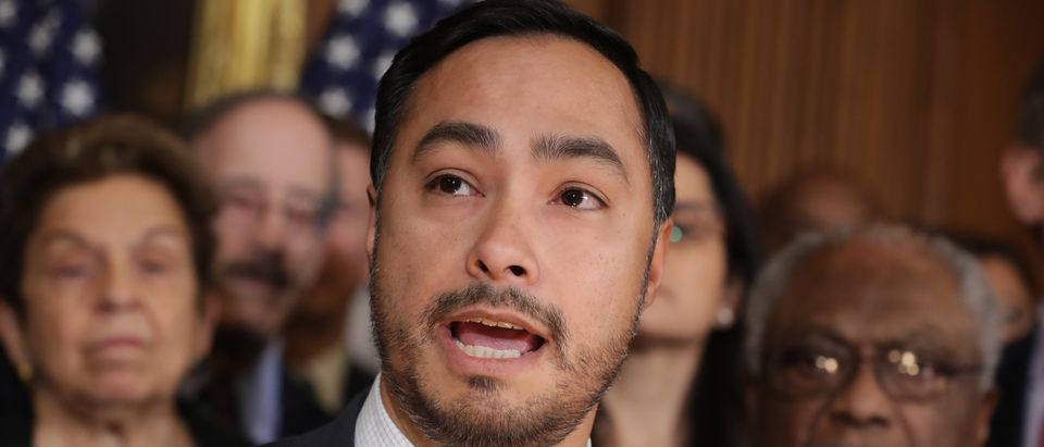 Rep. Joaquin Castro (D-TX) speaks during a news conference about the resolution he has sponsored to terminate President Donald Trump's emergency declaration February 25, 2019 in Washington, DC. (Chip Somodevilla/Getty Images)