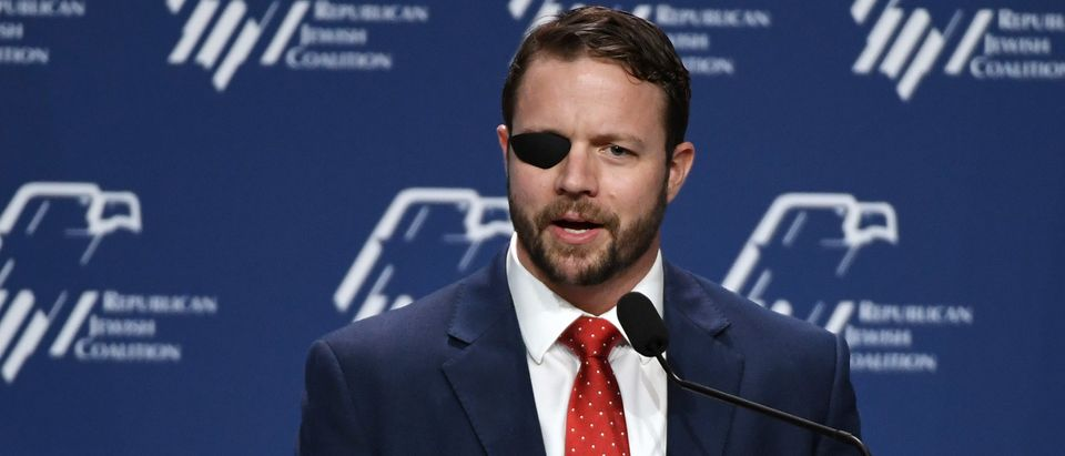 U.S. Rep. Dan Crenshaw (R-TX) speaks at the Republican Jewish Coalition's annual leadership meeting. (Photo by Ethan Miller/Getty Images)