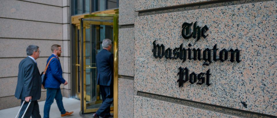 The building of the Washington Post newspaper headquarter is seen on K Street in Washington DC on May 16, 2019. (ERIC BARADAT/AFP/Getty Images)