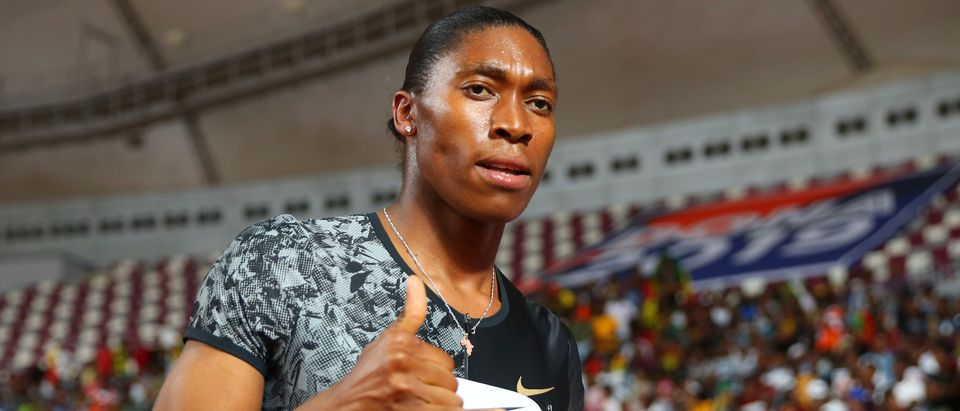 DOHA, QATAR - MAY 03: Caster Semenya of South Africa celebrates winning the Women's 800 metres during the IAAF Diamond League event at the Khalifa International Stadium on May 03, 2019 in Doha, Qatar. (Photo by Francois Nel/Getty Images)