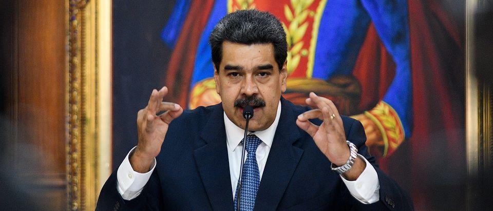Nicolas Maduro President of Venezuela gestures as he speaks during the Simon Bolivar Journalism National Award ceremony at Palacio de Miraflores on June 27, 2019 in Caracas, Venezuela. (Matias Delacroix/Getty Images)