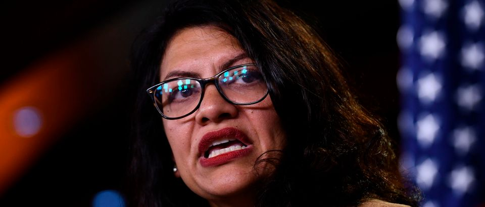 U.S. Rep. Rashida Tlaib speaks during a press conference, to address remarks made by U.S. President Donald Trump earlier in the day, at the U.S. Capitol in Washington, D.C., on July 15, 2019.(BRENDAN SMIALOWSKI/AFP/Getty Images)