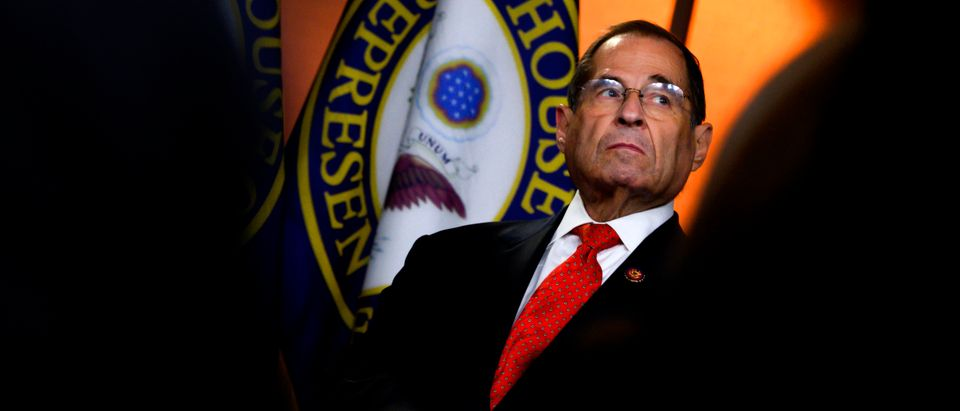 House Judiciary Committee US Representative Jerry Nadler looks on during a press conference following the former Special Counsel's testimony before the House Select Committee on Intelligence in Washington, DC, on July 24, 2019. (Photo by ANDREW CABALLERO-REYNOLDS / AFP) (Photo credit should read ANDREW CABALLERO-REYNOLDS/AFP/Getty Images)