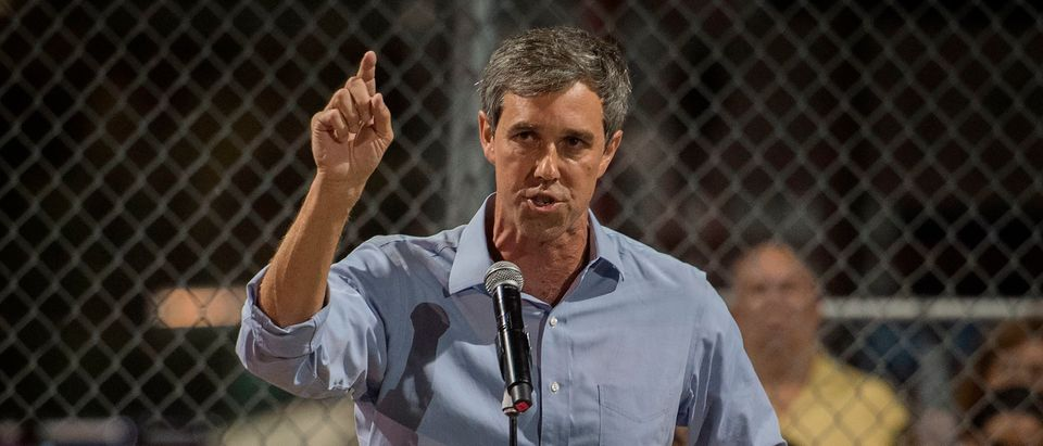 Democratic presidential hopeful and former U.S. Rep. for Texas' 16th congressional district Beto O'Rourke speaks to the crowd during a prayer and candle vigil organized by the city, after a shooting left 22 people dead at the Cielo Vista Mall WalMart in El Paso, Texas, on Aug. 4, 2019. (MARK RALSTON/AFP/Getty Images)