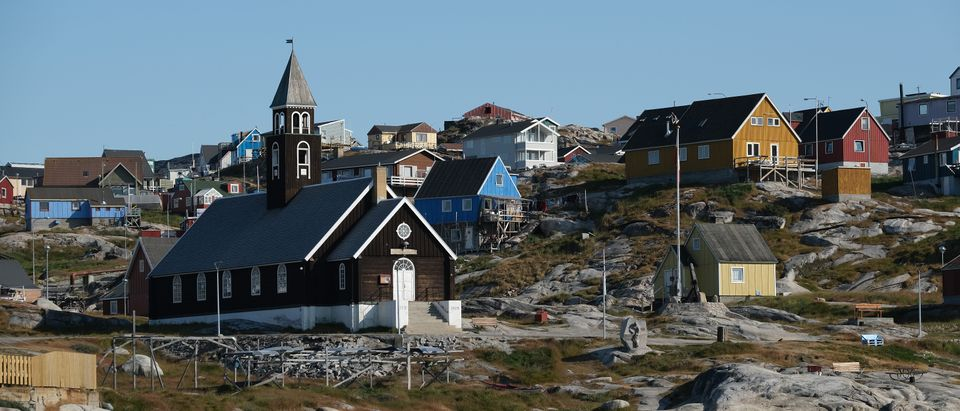 Zion Lutheran Church, built in 1779, stands on Disko Bay on August 04, 2019 in Ilulissat, Greenland. (Sean Gallup/Getty Images)