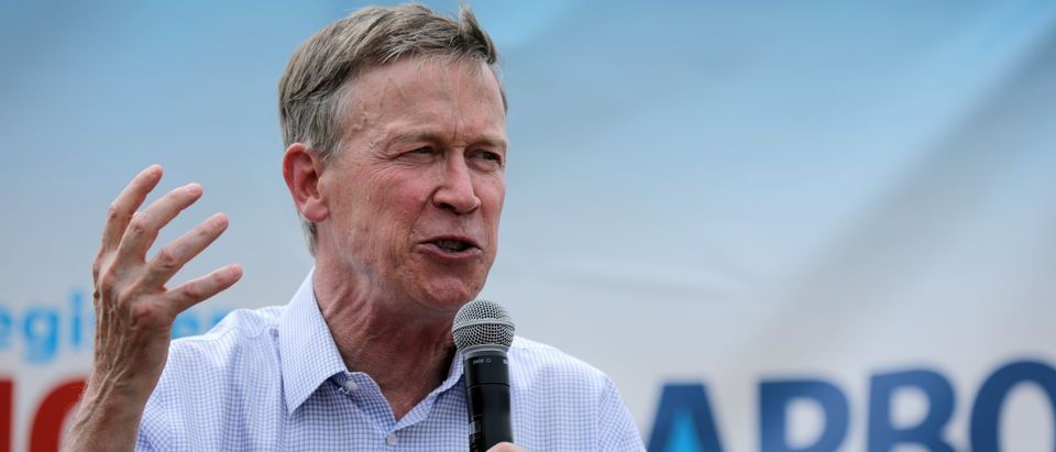 Democratic presidential candidate and former Colorado Governor John Hickenlooper delivers a 20-minute campaign speech at the Des Moines Register Political Soapbox at the Iowa State Fair August 10, 2019 in Des Moines, Iowa. (Chip Somodevilla/Getty Images)