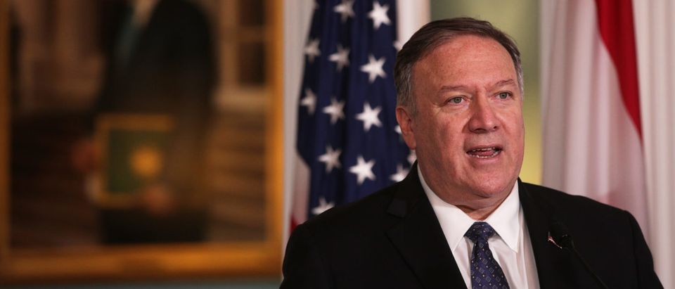 WASHINGTON, DC - AUGUST 15: U.S. Secretary of State Mike Pompeo makes remarks to members after a meeting with Lebanese Prime Minister Saad Hariri at the State Department August 15, 2019 in Washington, DC. Prime Minister Hariri had a meeting with Secretary Pompeo prior to the remarks and it is his third visit to Washington as Lebanon's Prime Minister. (Photo by Alex Wong/Getty Images)