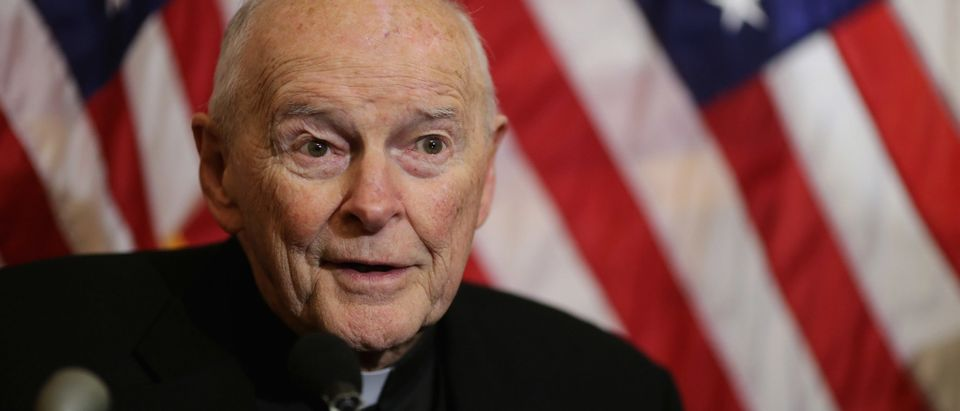 Cardinal Theodore McCarrick, archbishop emeritus of Washington, speaks during a news conference with senators and national religious leaders to respond to attempts at vilifying refugees and to call on lawmakers to engage in policymaking and not 'fear-mongering' at the U.S. Capitol Dec. 8, 2015 in Washington, D.C. (Photo by Chip Somodevilla/Getty Images)