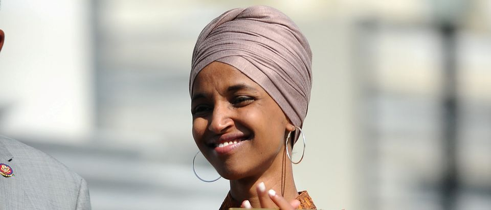 Rep. Ilhan Omar (D-MN) attends a press event on the first 200 days of the 116th Congress at the U.S. Capitol in Washington, U.S., July 25, 2019. REUTERS/Mary F. Calvert