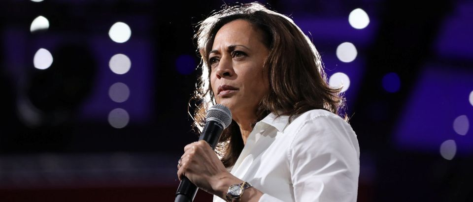 2020 Democratic U.S. presidential candidate and U.S. Sen. Kamala Harris speaks during the Presidential Gun Sense Forum in Des Moines, Iowa, U.S., Aug. 10, 2019. REUTERS/Scott Morgan