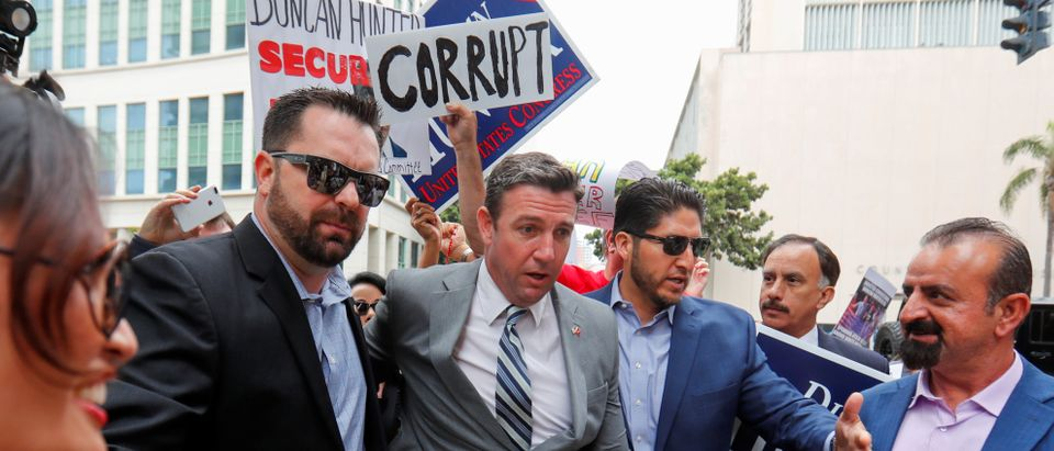 Duncan Hunter being escorted into court Tuesday. (REUTERS/Mike Blake)