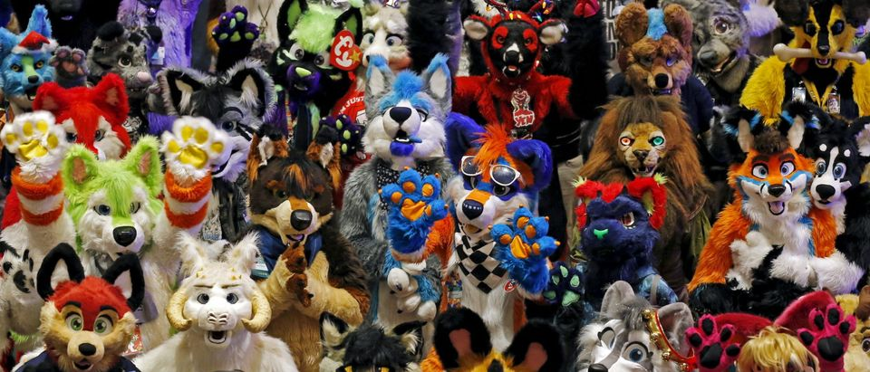 Attendees at the Midwest FurFest gather for a group photo in the Chicago suburb of Rosemont