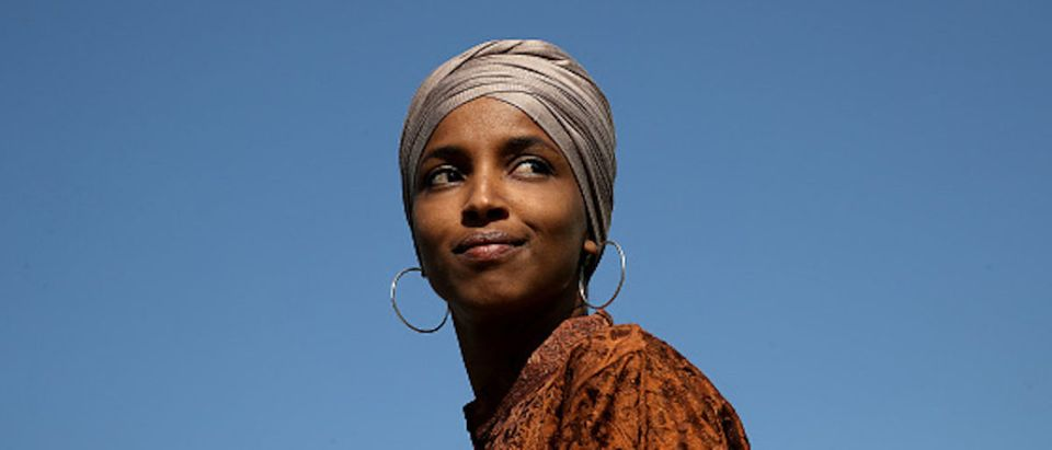 Rep. Ilhan Omar (D-MN) speaks at a press conference outside the U.S. Capitol July 25, 2019 in Washington, DC