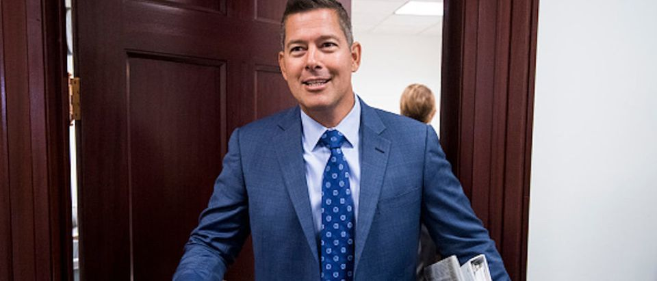 Rep. Sean Duffy, R-Wisc., leaves the House Republican Conference meeting in the Capitol on Wednesday, Sept. 5, 2018