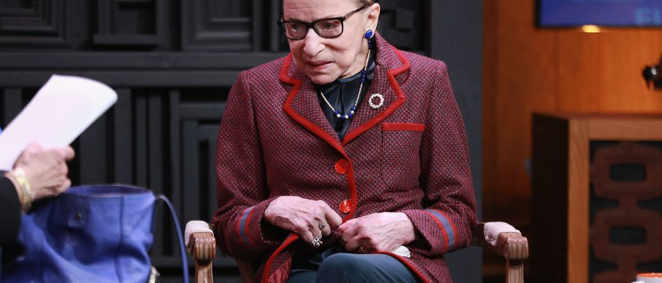 Justice Ruth Bader Ginsburg speaks at the 2018 Sundance Film Festival. (Robin Marchant/Getty Images)