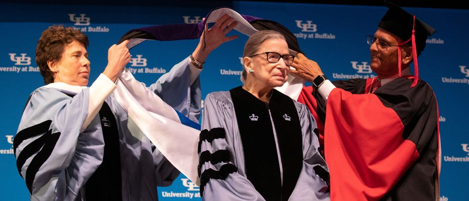 Justice Ruth Bader Ginsburg receives an honorary doctoral degree at the University at Buffalo School of Law on Aug. 26, 2019. REUTERS/Lindsay DeDario